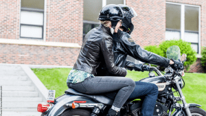 The power of moving together, Hannah Bratterud riding motorcycle