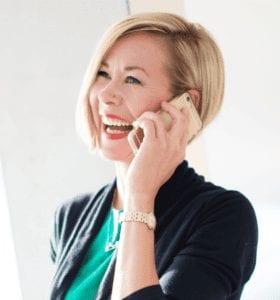 Hannah on a sales call